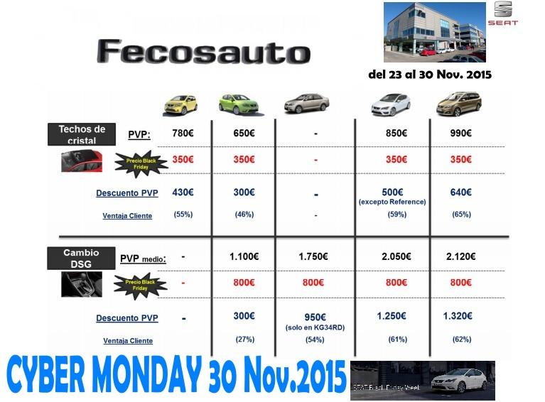 Fecosauto Concesionario Seat y Volkswagen Mollet del Vallès, Cyber monday 2015 ofertas
