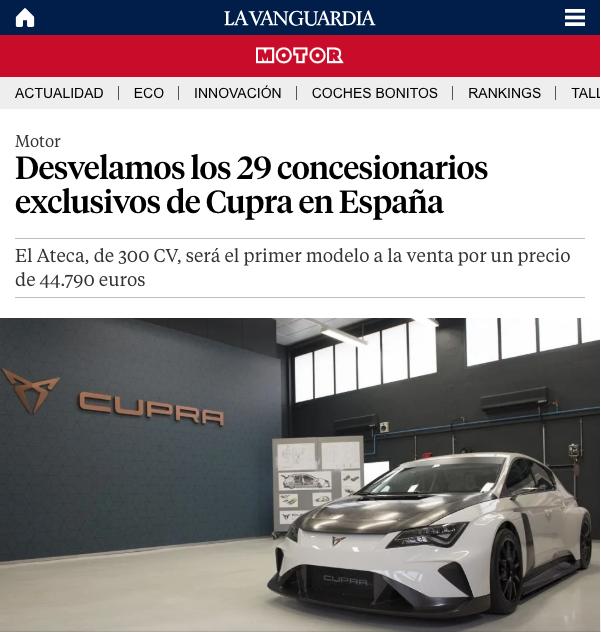 LA VANGUARDIA – Fecosauto Mollet como uno de los 29 concesionarios exclusivos de Cupra en España